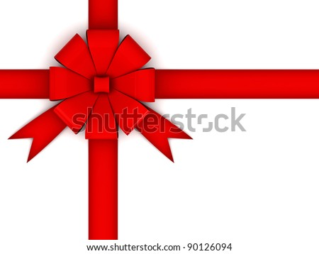 Red gift bow isolated on white background - stock photo