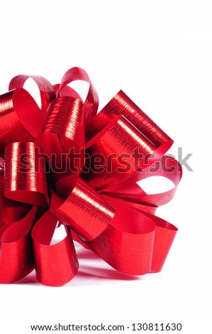 Red gift bow on white - stock photo
