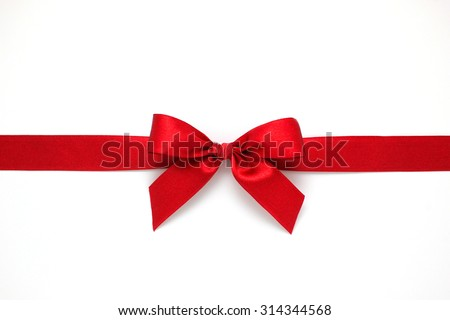 Red gift bow on white background - stock photo