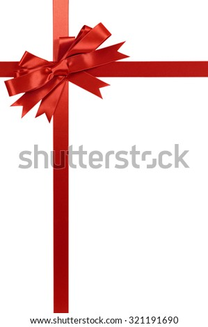 Red gift bow ribbon isolated on white background vertical - stock photo