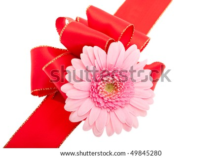 Red gift bow with gerberas in front of white background