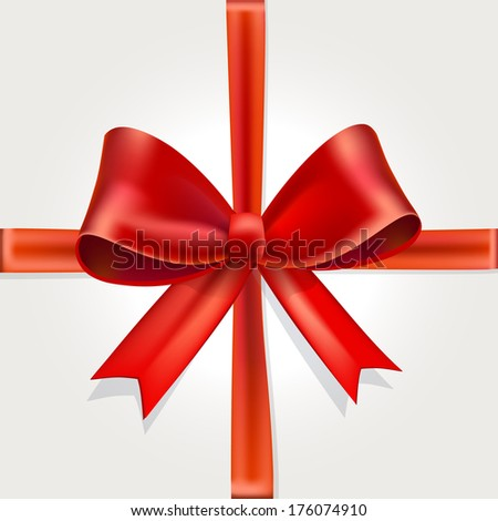 Red Gift Bow with Ribbon Isolated on White Background