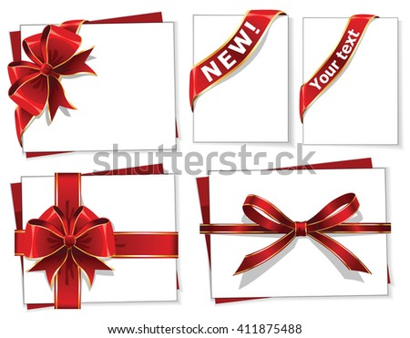 Red gift bows with ribbons - illustration