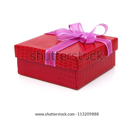 Red gift box  and bow on a white background - stock photo