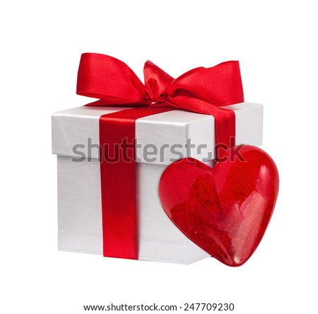 Red gift box and heart isolated on the white - stock photo