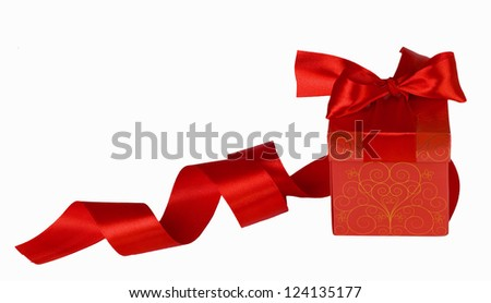 Red gift box bow tie isolated on white background