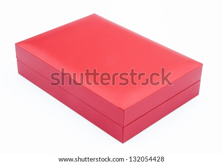 red gift box closed on white background - stock photo
