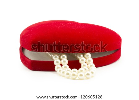 red gift box for jewelry, pearl necklace - stock photo