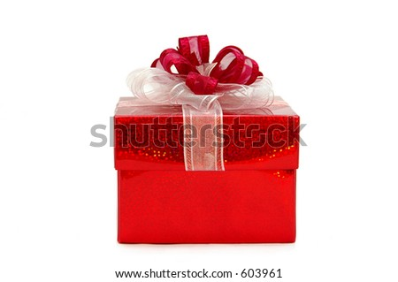 Red gift box - front view