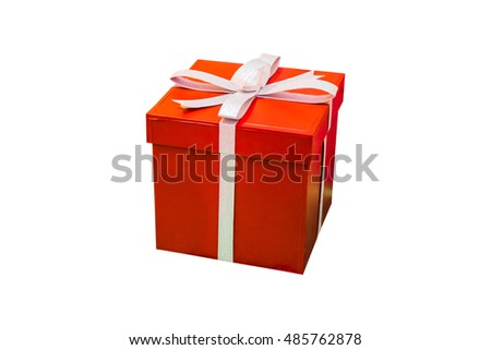 Red gift box isolated on white background. Christmas present wrapped in ribbon.
