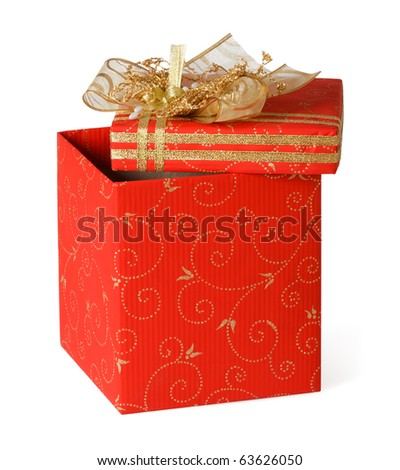 Red Gift Box on a white background - stock photo