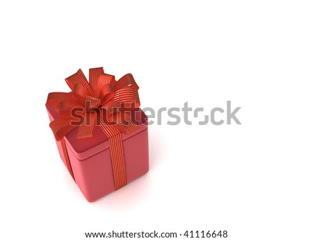 red gift box on white background