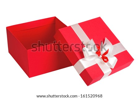 Red gift box open, isolated on white background - stock photo