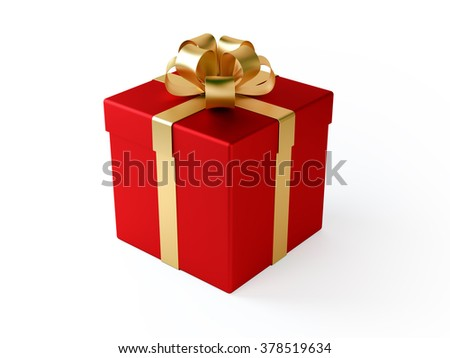 Red gift box tied with a golden satin ribbon bow. Isolated on white background. Clipping path is included. - stock photo