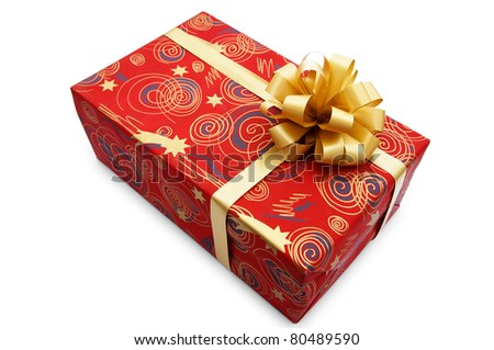 Red gift box with a golden ribbon on a white background
