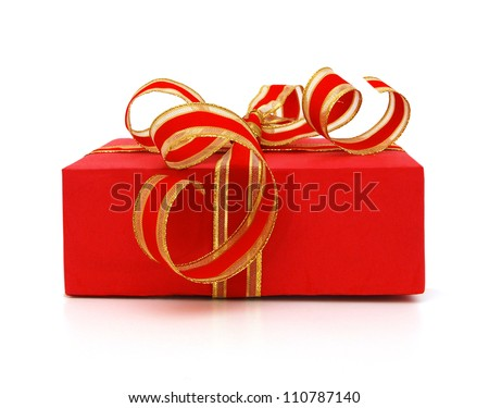 Red gift box with gift ribbon isolated on white yellow - stock photo