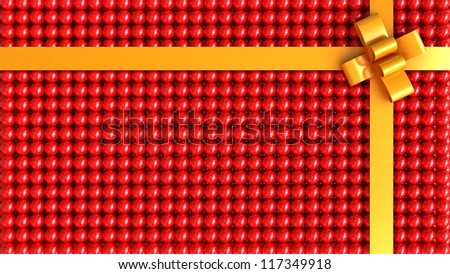 Red gift box with gold ribbon background - stock photo