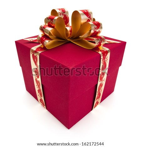Red gift box with golden ribbon and bow, isolated on the white background, clipping path included. - stock photo