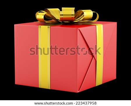 red gift box with golden ribbon isolated on black background - stock photo