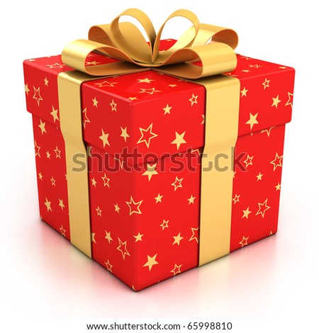 red gift box with golden ribbon over white background 3d illustration - stock photo