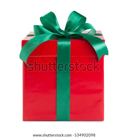 red gift box with green ribbon and bow isolated on white.