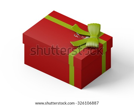 red gift box with green ribbon bow, isolated on white