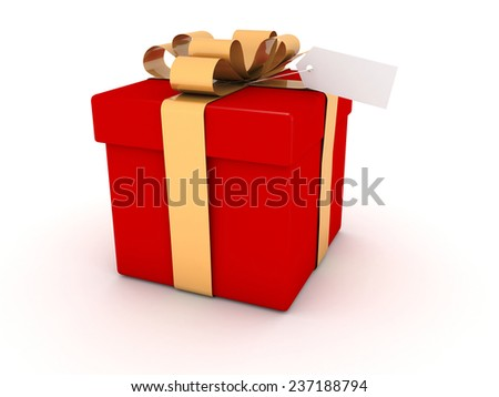 Red gift box with label on white background - stock photo