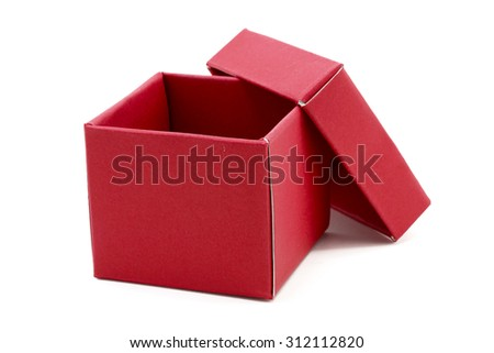 Red Gift Box with open cap on Isolated white Background