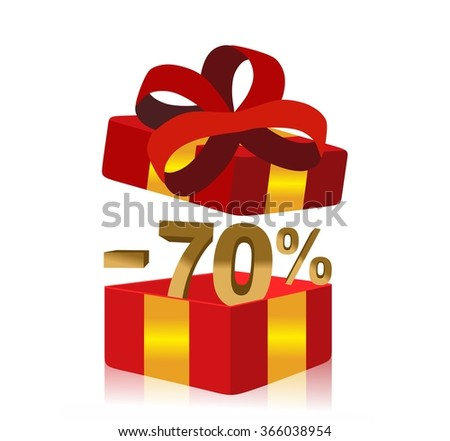 red gift box with 70 percent discount inside - stock photo