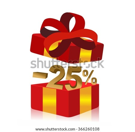 red gift box with 25 percent discount inside - stock photo