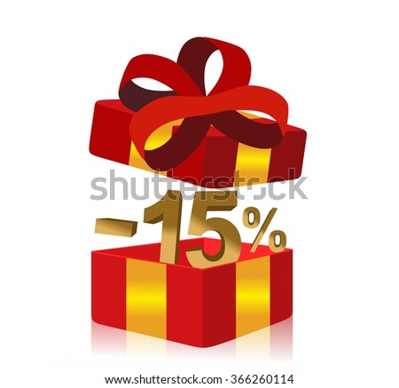 red gift box with 15 percent discount inside - stock photo
