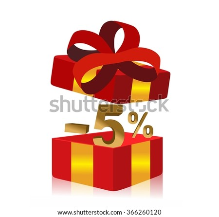 red gift box with 5 percent discount inside - stock photo