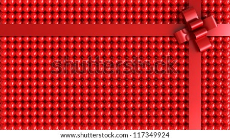 Red gift box with red ribbon background - stock photo