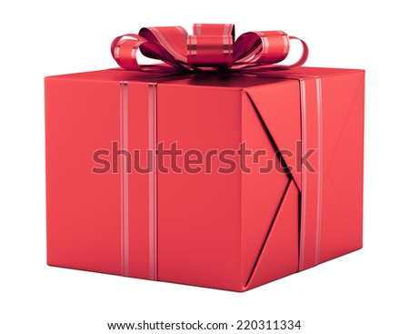 red gift box with ribbon isolated on white background - stock photo