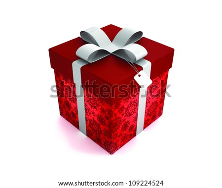 Red gift box with silver fatty isolated on white background