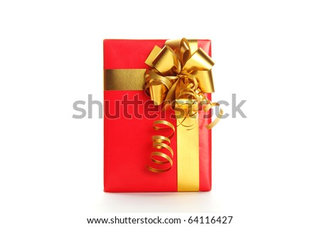 Red Gift Box with silver gold Bow. A gift for Christmas, Birthday, Wedding, or Valentine's day. White background - stock photo