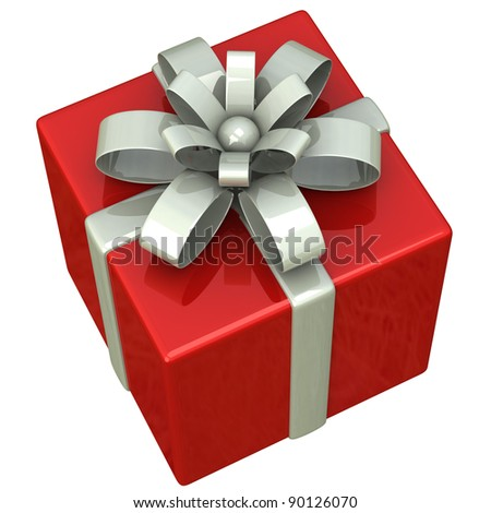 Red gift box with silver ribbon bow 3d - stock photo