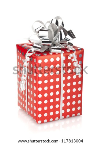 Red gift box with silver ribbon. Isolated on white background - stock photo