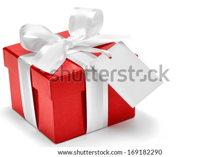 Red gift box with white bow and tag - stock photo
