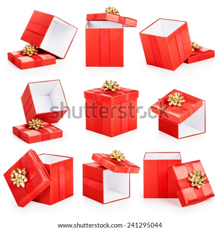 Red gift boxes with gold ribbon bow collection isolated on white background. Christmas themes  - stock photo