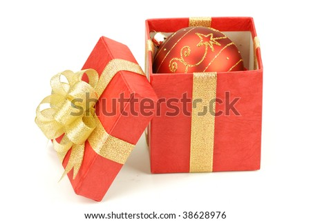 Red gift boxes with polished ball isolated on the white background