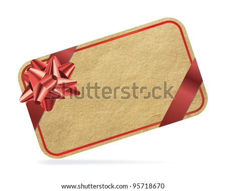 Red gift card isolated on white background. - stock photo