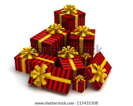 Red Gift christmas boxes isolated on white - stock photo