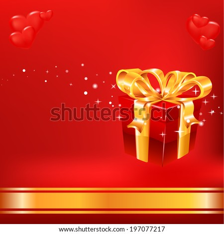 Red gift on red background. Raster copy.