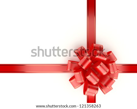 Red gift ribbon and bow isolated on white background. Computer generated image with clipping path.