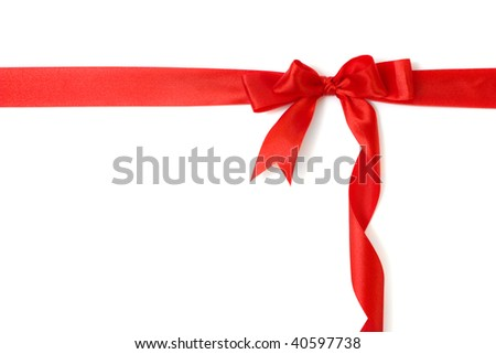red gift ribbon and bow isolated over white. some other you may also like