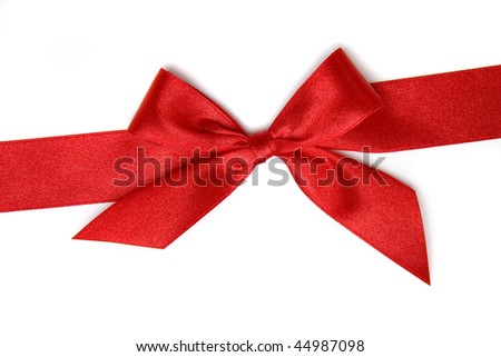 red gift ribbon bow isolated on white background