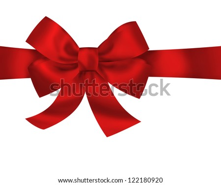 Red gift ribbon bow isolated on white background. Bright holiday illustration - stock photo