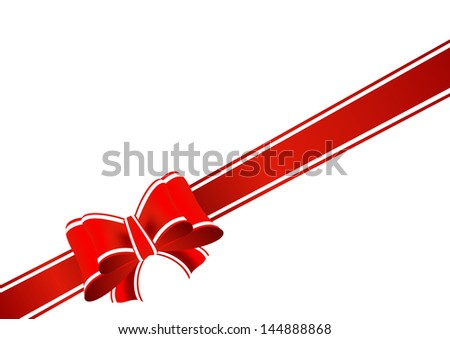 red gift ribbon tied in a bow