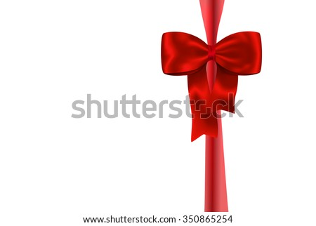 Red gift ribbon with luxurious bow isolated on white background - stock photo